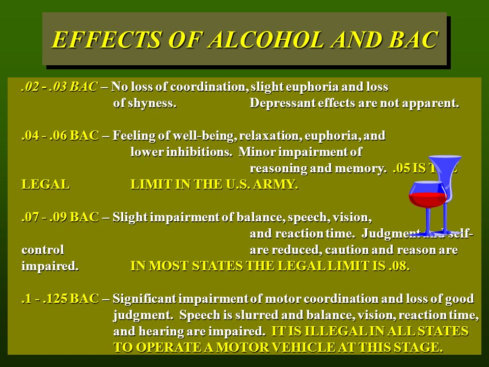 EFFECTS OF ALCOHOL AND BAC BAC – No loss of coordination, slight euphoria and loss of shyness.