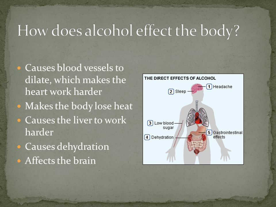 Causes blood vessels to dilate, which makes the heart work harder Makes the body lose heat Causes the liver to work harder Causes dehydration Affects the brain