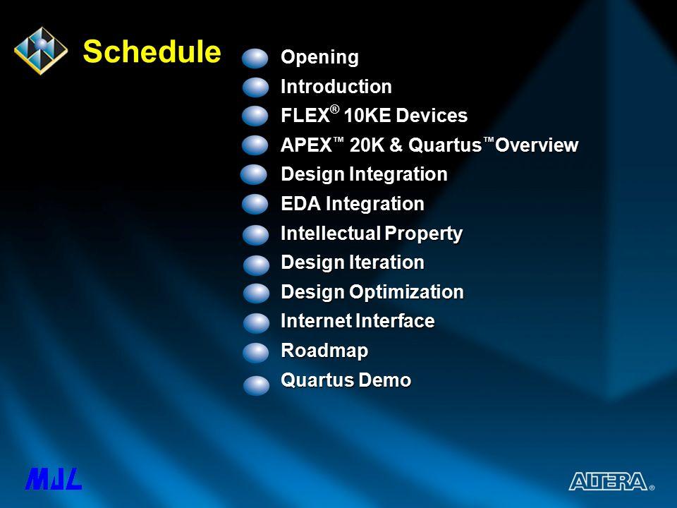 Altera Technical Solutions Seminar Schedule OpeningIntroduction FLEX