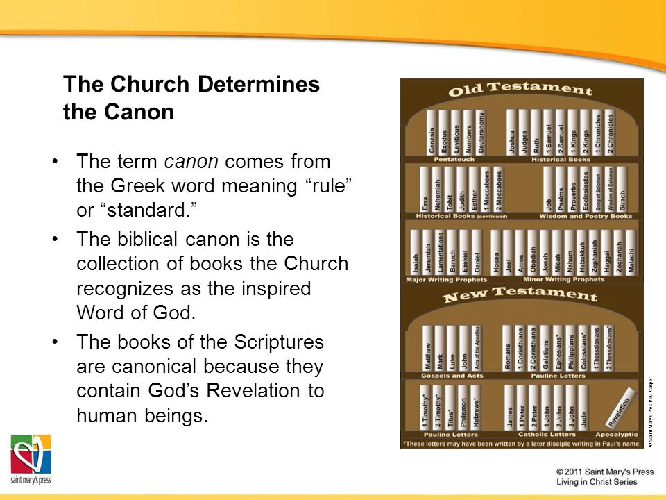 The Church Determines the Canon The term canon comes from the Greek word meaning rule or standard. The biblical canon is the collection of books the Church recognizes as the inspired Word of God.
