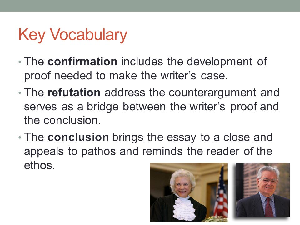 Key Vocabulary The confirmation includes the development of proof needed to make the writer's case.