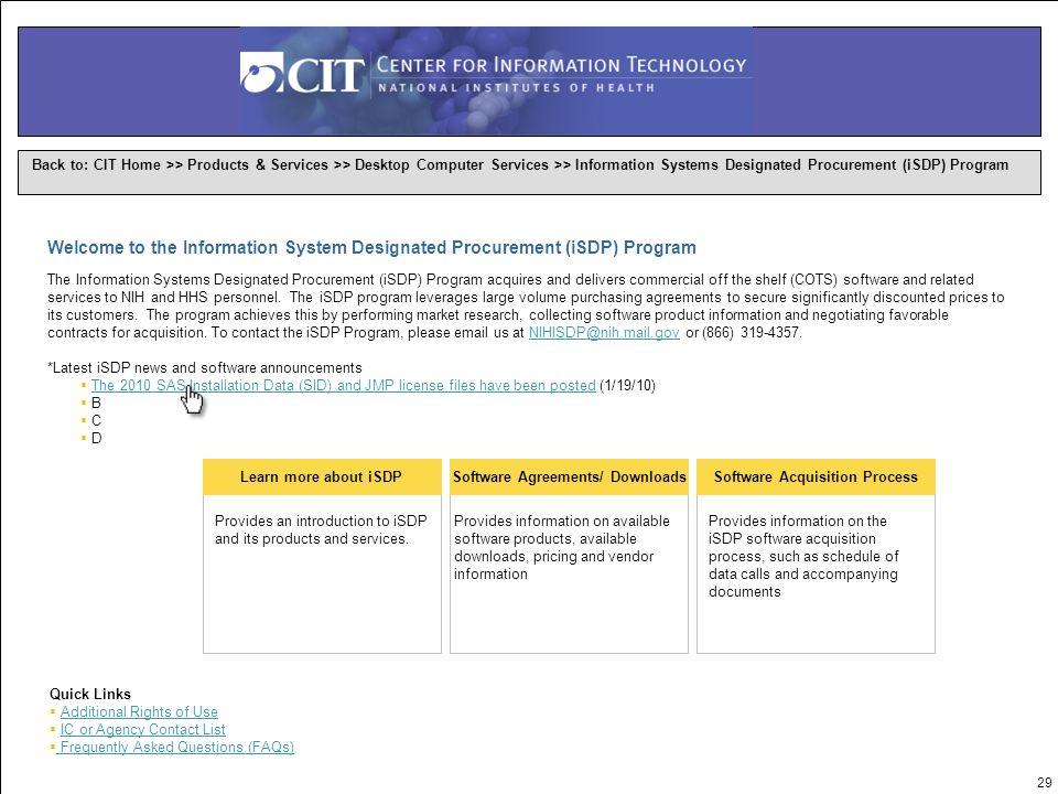 1 Information System Designated Procurement (ISDP) Program