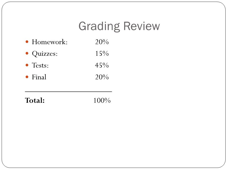 Grading Review Homework: 20% Quizzes: 15% Tests: 45% Final 20% _____________________ Total:100%