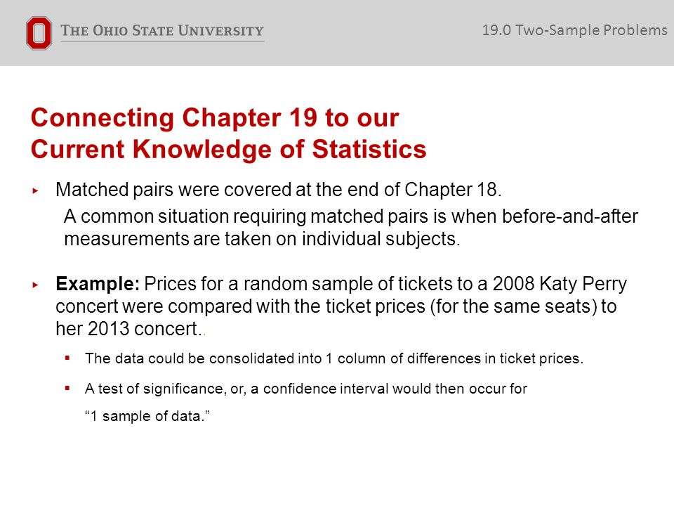Connecting Chapter 19 to our Current Knowledge of Statistics ▸ Matched pairs were covered at the end of Chapter 18.