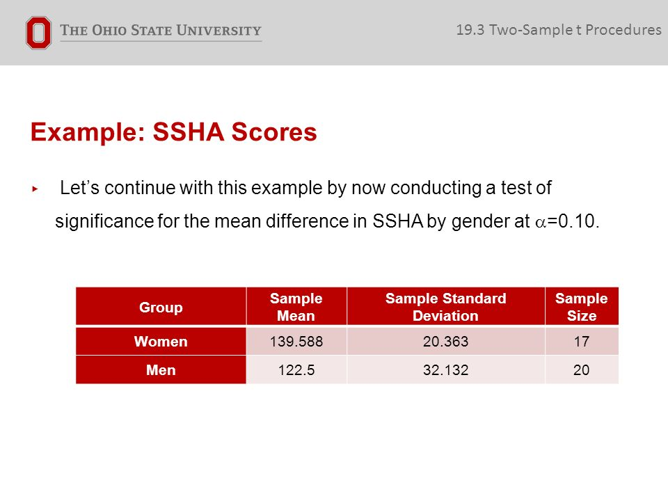 Example: SSHA Scores ▸ Let's continue with this example by now conducting a test of significance for the mean difference in SSHA by gender at  =0.10.