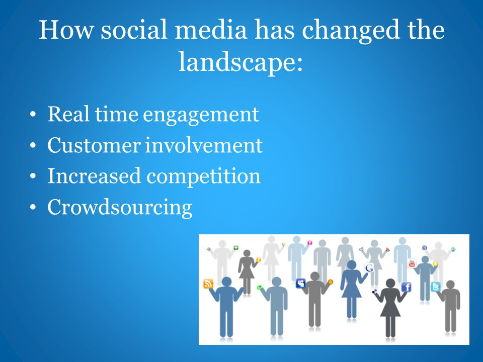 How social media has changed the landscape: Real time engagement Customer involvement Increased competition Crowdsourcing