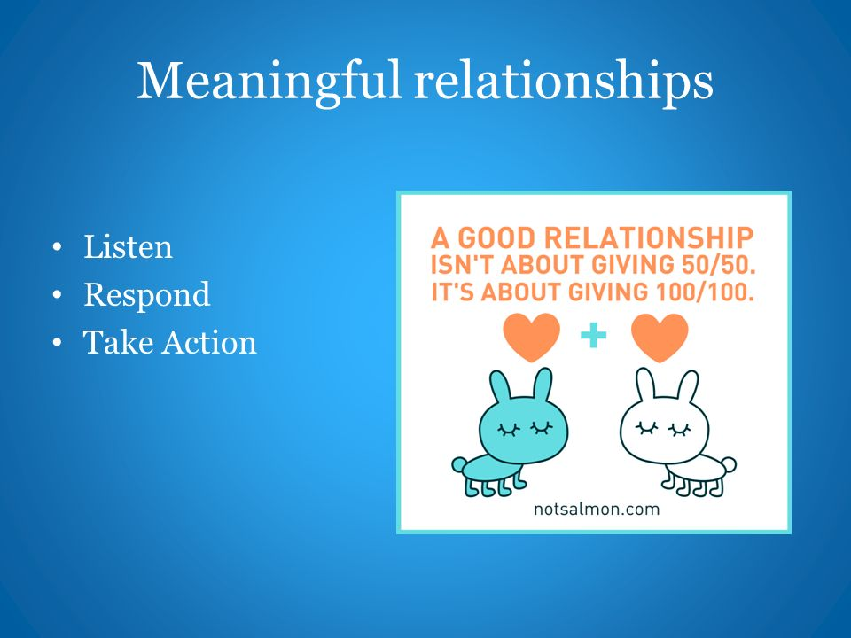 Meaningful relationships Listen Respond Take Action