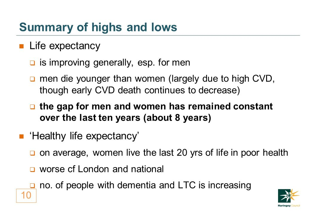 10 Summary of highs and lows Life expectancy  is improving generally, esp.