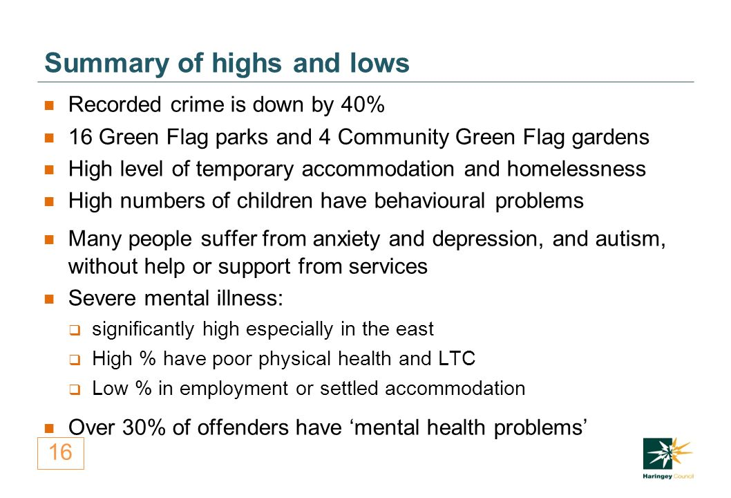 16 Summary of highs and lows Recorded crime is down by 40% 16 Green Flag parks and 4 Community Green Flag gardens High level of temporary accommodation and homelessness High numbers of children have behavioural problems Many people suffer from anxiety and depression, and autism, without help or support from services Severe mental illness:  significantly high especially in the east  High % have poor physical health and LTC  Low % in employment or settled accommodation Over 30% of offenders have 'mental health problems'