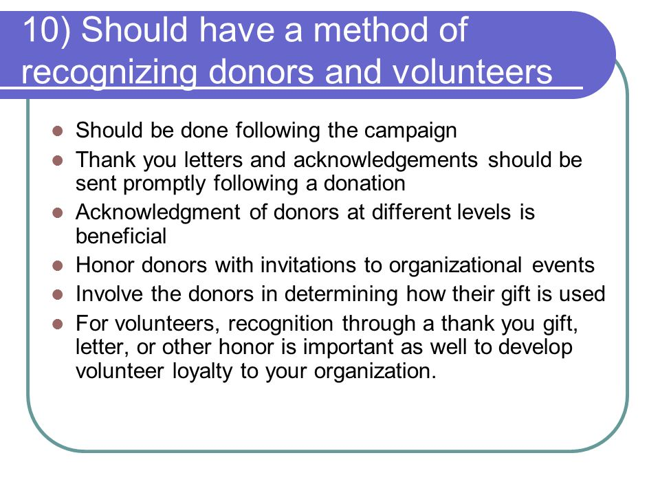 Chapter 7 generating funds part 2 meg giddings 3 types of 11 10 should have a method of recognizing donors and volunteers should be done following the campaign thank you letters expocarfo Gallery