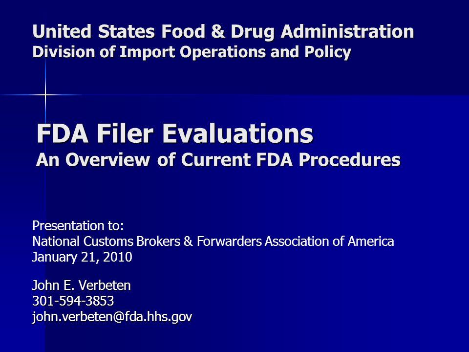 United States Food & Drug Administration Division of Import