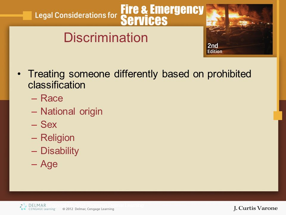 Copyright © 2007 Thomson Delmar Learning Discrimination Treating someone differently based on prohibited classification –Race –National origin –Sex –Religion –Disability –Age
