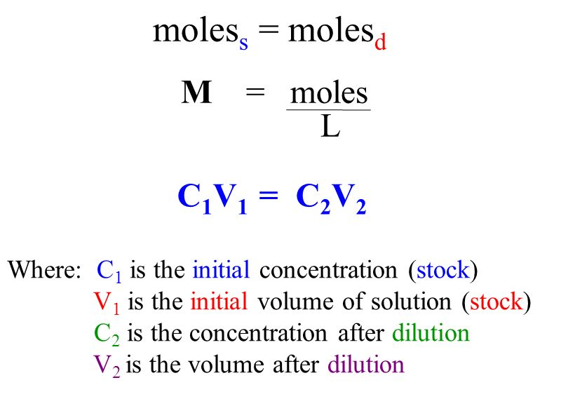 M = moles Where: C 1 is the initial concentration (stock) V 1 is the initial volume of solution (stock) C 2 is the concentration after dilution V 2 is the volume after dilution moles s = moles d C 1 V 1 = C 2 V 2 L