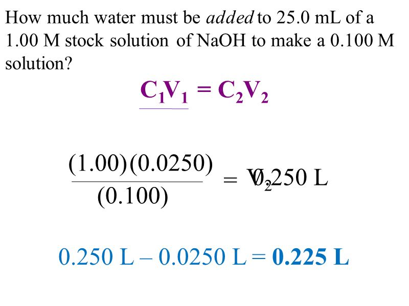 How much water must be added to 25.0 mL of a 1.00 M stock solution of NaOH to make a M solution.