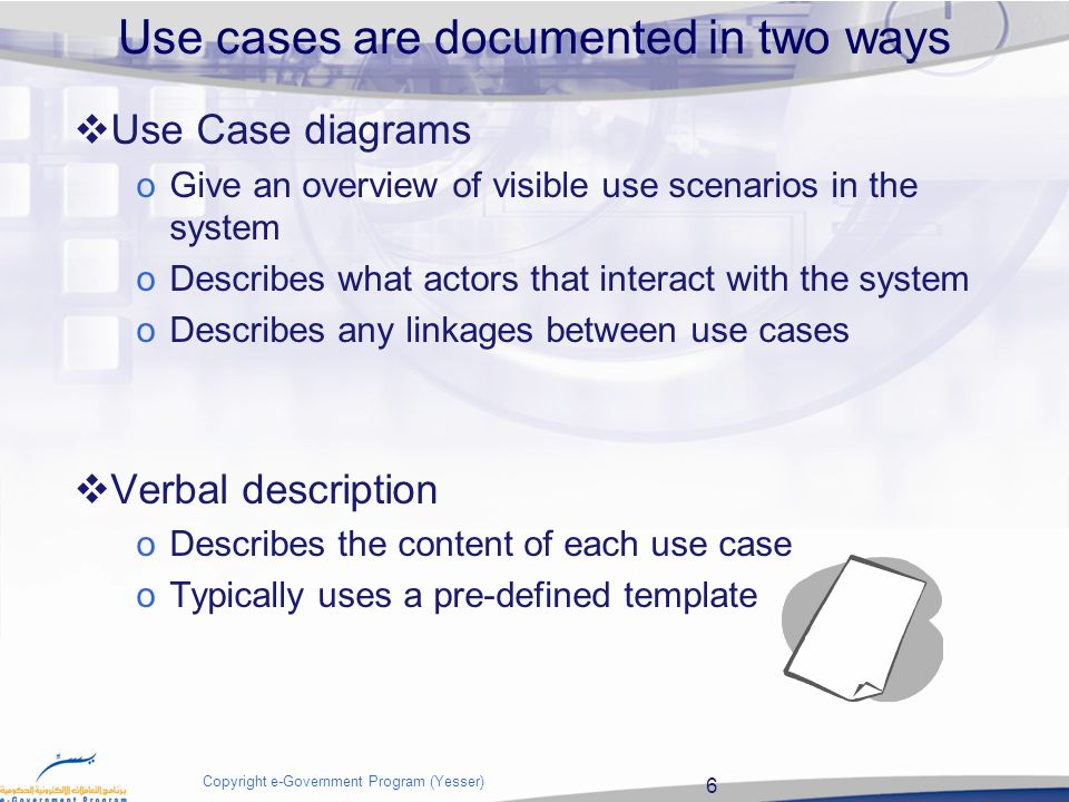 Use Case 2 Copyright E Government Program Yesser Use Case Summary Slide Use Cases Definition The Purpose Of Use Cases Why Use Use Cases Ppt Download