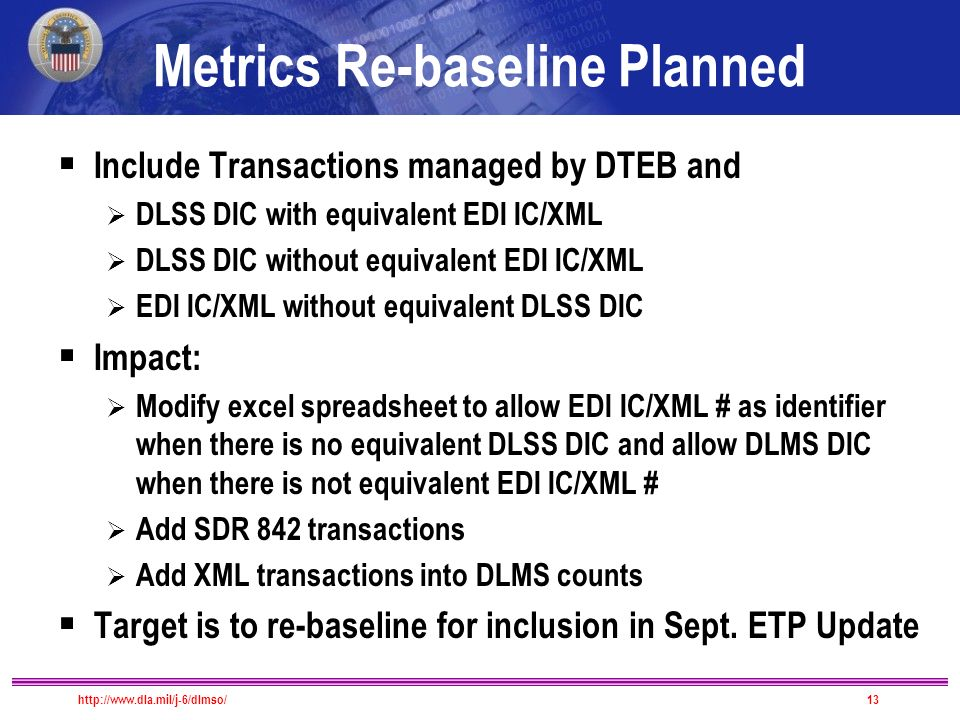 Metrics Re-baseline Planned  Include Transactions managed by DTEB and  DLSS DIC with equivalent EDI IC/XML  DLSS DIC without equivalent EDI IC/XML  EDI IC/XML without equivalent DLSS DIC  Impact:  Modify excel spreadsheet to allow EDI IC/XML # as identifier when there is no equivalent DLSS DIC and allow DLMS DIC when there is not equivalent EDI IC/XML #  Add SDR 842 transactions  Add XML transactions into DLMS counts  Target is to re-baseline for inclusion in Sept.