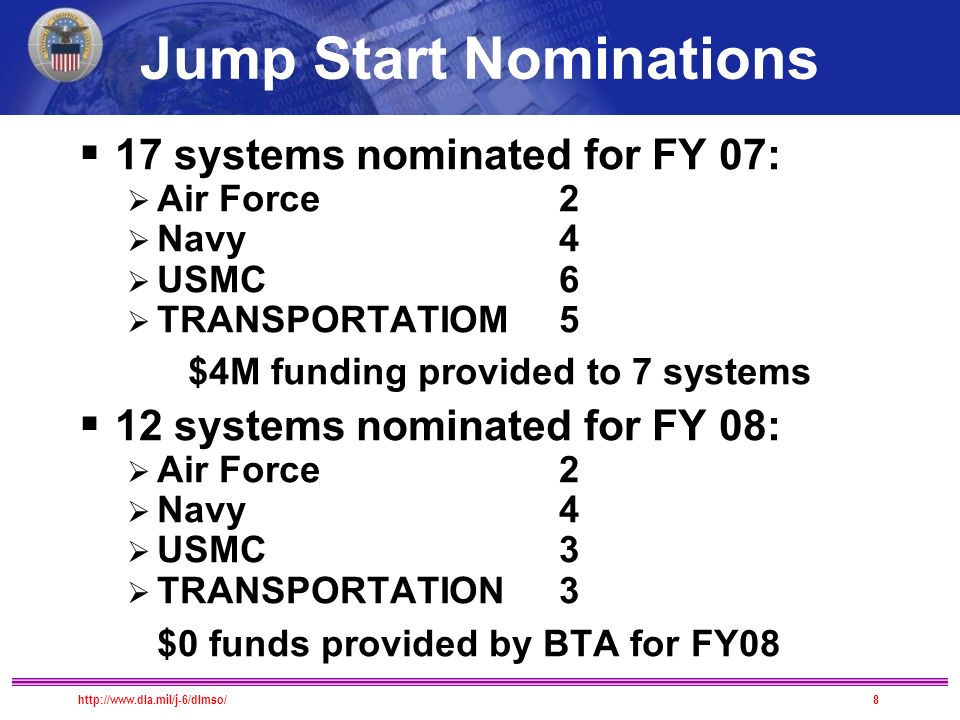  17 systems nominated for FY 07:  Air Force 2  Navy 4  USMC 6  TRANSPORTATIOM5 $4M funding provided to 7 systems  12 systems nominated for FY 08:  Air Force 2  Navy 4  USMC 3  TRANSPORTATION3 $0 funds provided by BTA for FY08 Jump Start Nominations