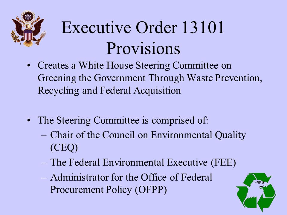White House Task Force on Recycling Green Purchasing  - ppt download