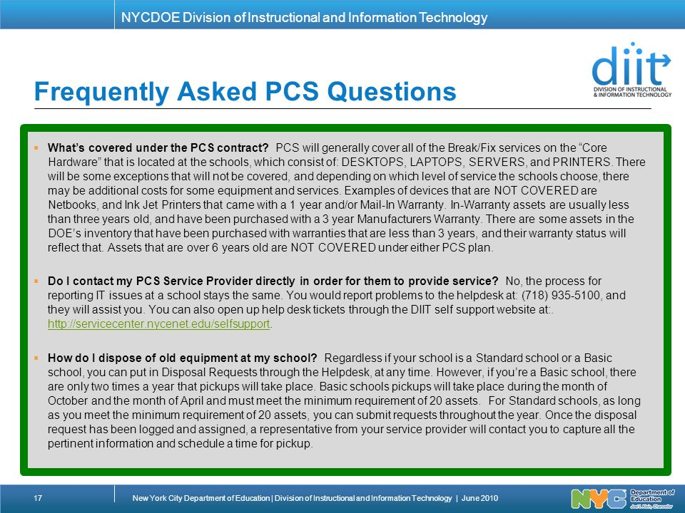 NYCDOE Division Of Instructional And Information Technology Frequently  Asked PCS Questions 17New York City Department Of