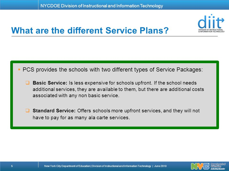 Perfect NYCDOE Division Of Instructional And Information Technology What Are The  Different Service Plans. Images