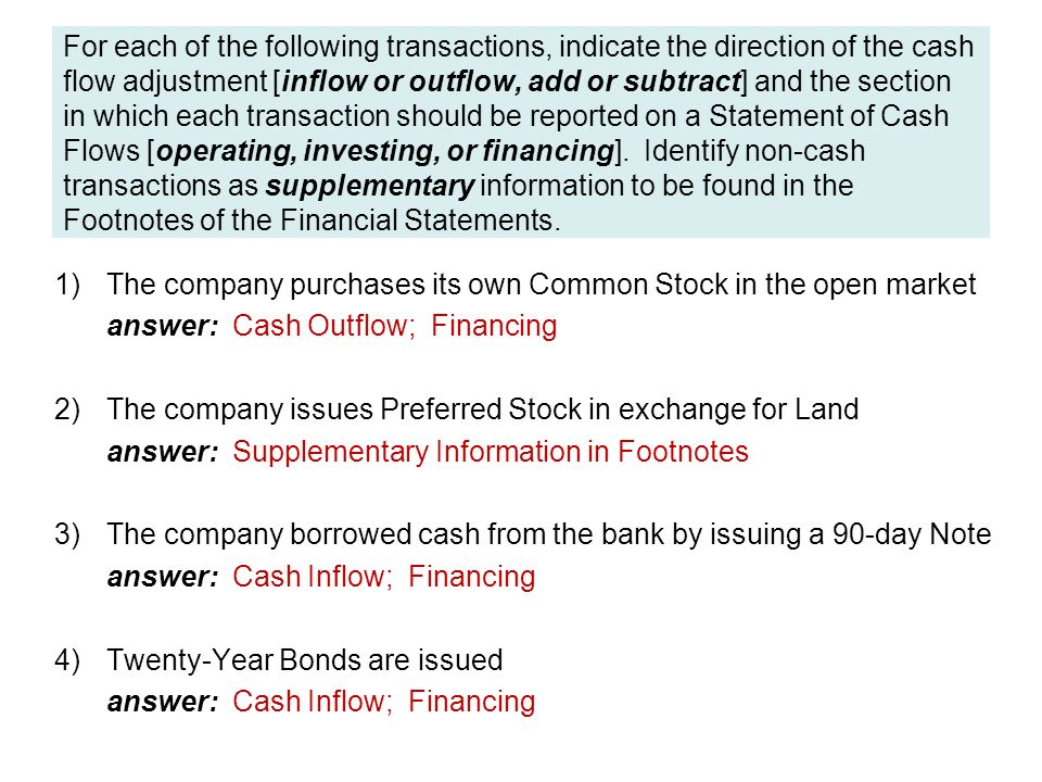 For each of the following transactions, indicate the direction of the cash flow adjustment [inflow or outflow, add or subtract] and the section in which each transaction should be reported on a Statement of Cash Flows [operating, investing, or financing].