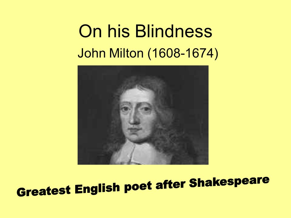 on his blindness poem questions and answers