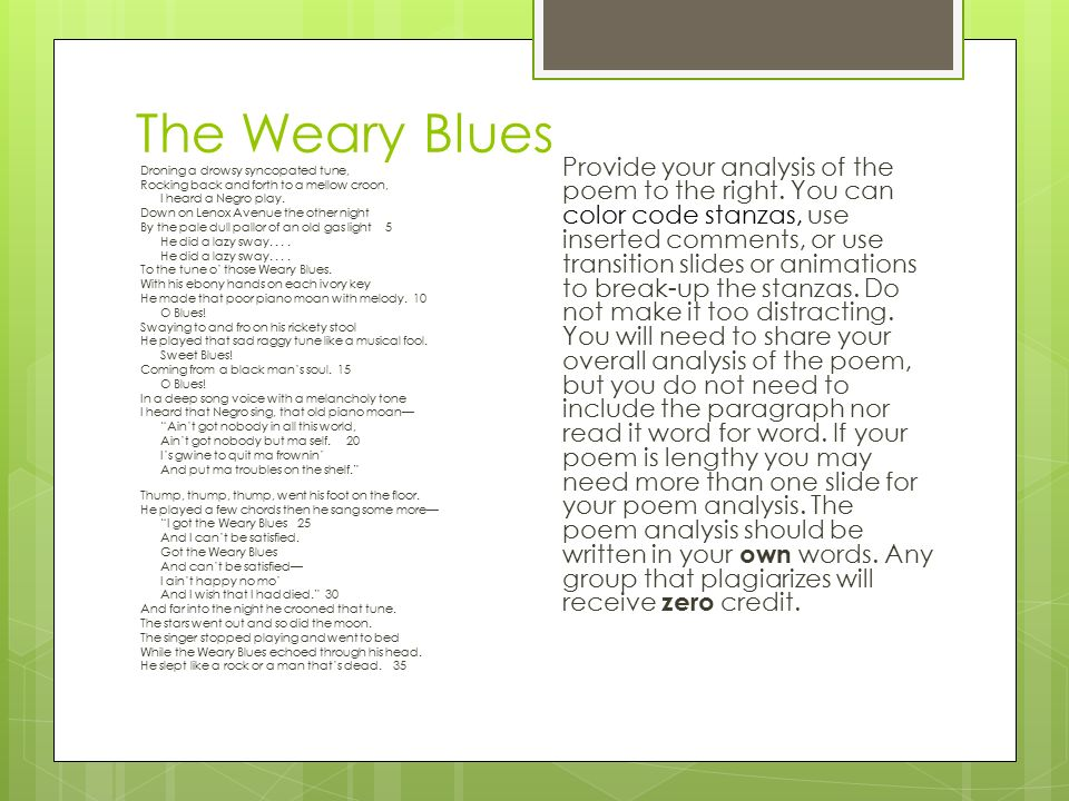 the weary blues poem analysis