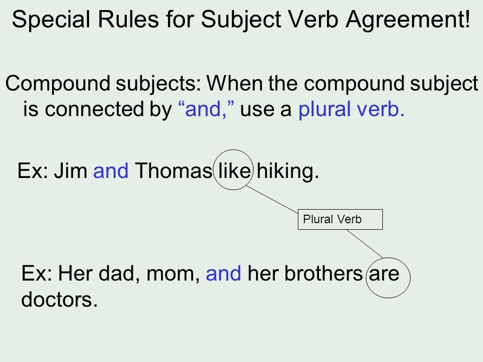 Subject Verb Agreement The Basic Idea The Number Of The Subject