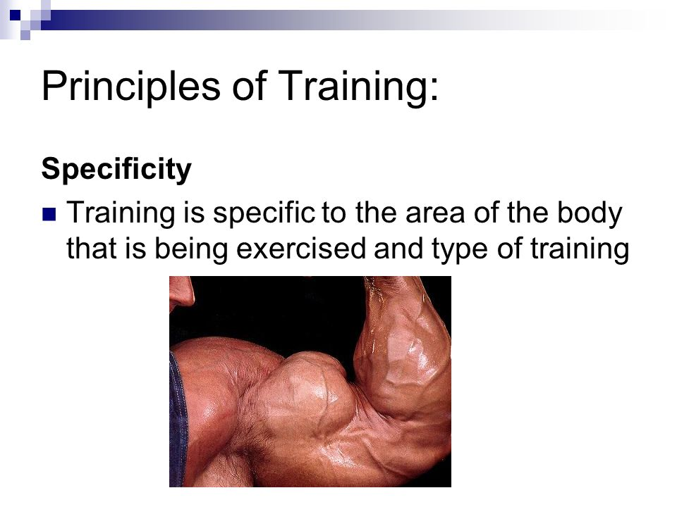 Principles of Training: Specificity Training is specific to the area of the body that is being exercised and type of training