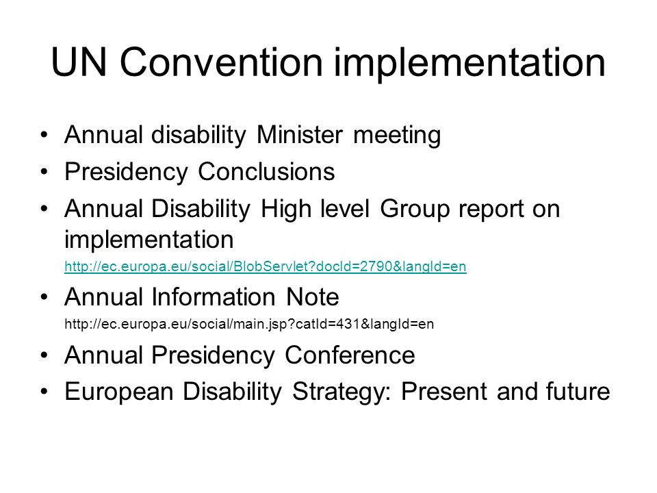 UN Convention implementation Annual disability Minister meeting Presidency Conclusions Annual Disability High level Group report on implementation   docId=2790&langId=en Annual Information Note   catId=431&langId=en Annual Presidency Conference European Disability Strategy: Present and future