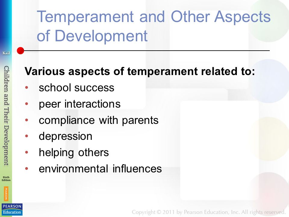 Temperament and Other Aspects of Development Various aspects of temperament related to: school success peer interactions compliance with parents depression helping others environmental influences