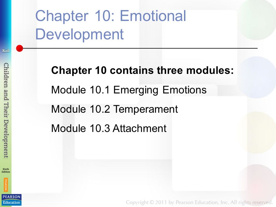 Chapter 10: Emotional Development Chapter 10 contains three modules: Module 10.1 Emerging Emotions Module 10.2 Temperament Module 10.3 Attachment