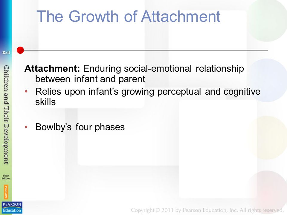 The Growth of Attachment Attachment: Enduring social-emotional relationship between infant and parent Relies upon infant's growing perceptual and cognitive skills Bowlby's four phases