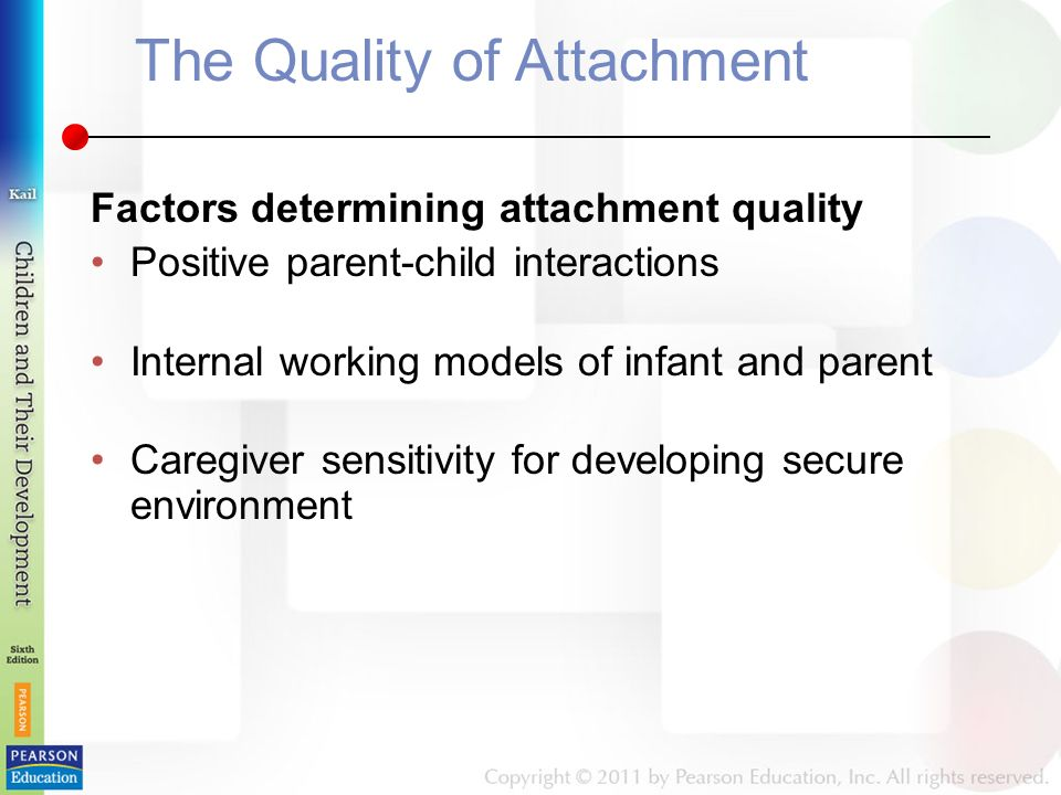 The Quality of Attachment Factors determining attachment quality Positive parent-child interactions Internal working models of infant and parent Caregiver sensitivity for developing secure environment