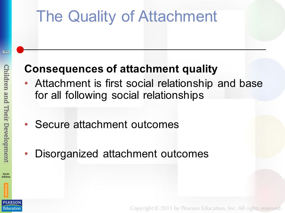 The Quality of Attachment Consequences of attachment quality Attachment is first social relationship and base for all following social relationships Secure attachment outcomes Disorganized attachment outcomes