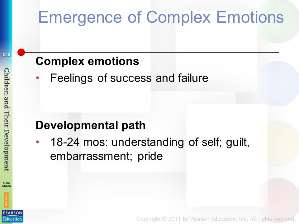 Emergence of Complex Emotions Complex emotions Feelings of success and failure Developmental path mos: understanding of self; guilt, embarrassment; pride