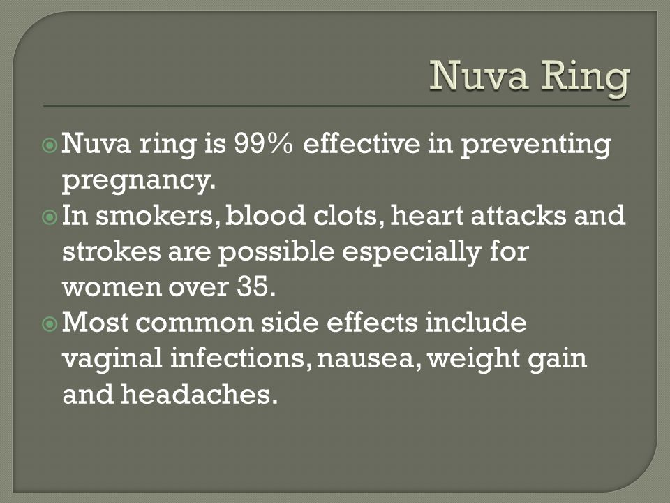 Nuva ring is 99% effective in preventing pregnancy.