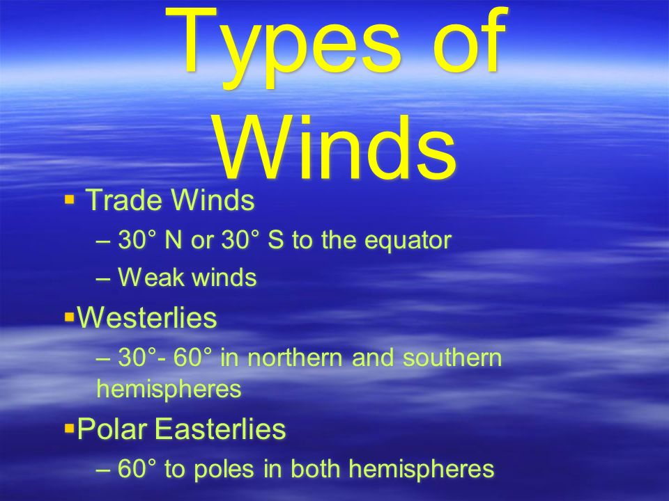 Types of Winds  Trade Winds – 30° N or 30° S to the equator – Weak winds  Westerlies – 30°- 60° in northern and southern hemispheres  Polar Easterlies – 60° to poles in both hemispheres  Trade Winds – 30° N or 30° S to the equator – Weak winds  Westerlies – 30°- 60° in northern and southern hemispheres  Polar Easterlies – 60° to poles in both hemispheres