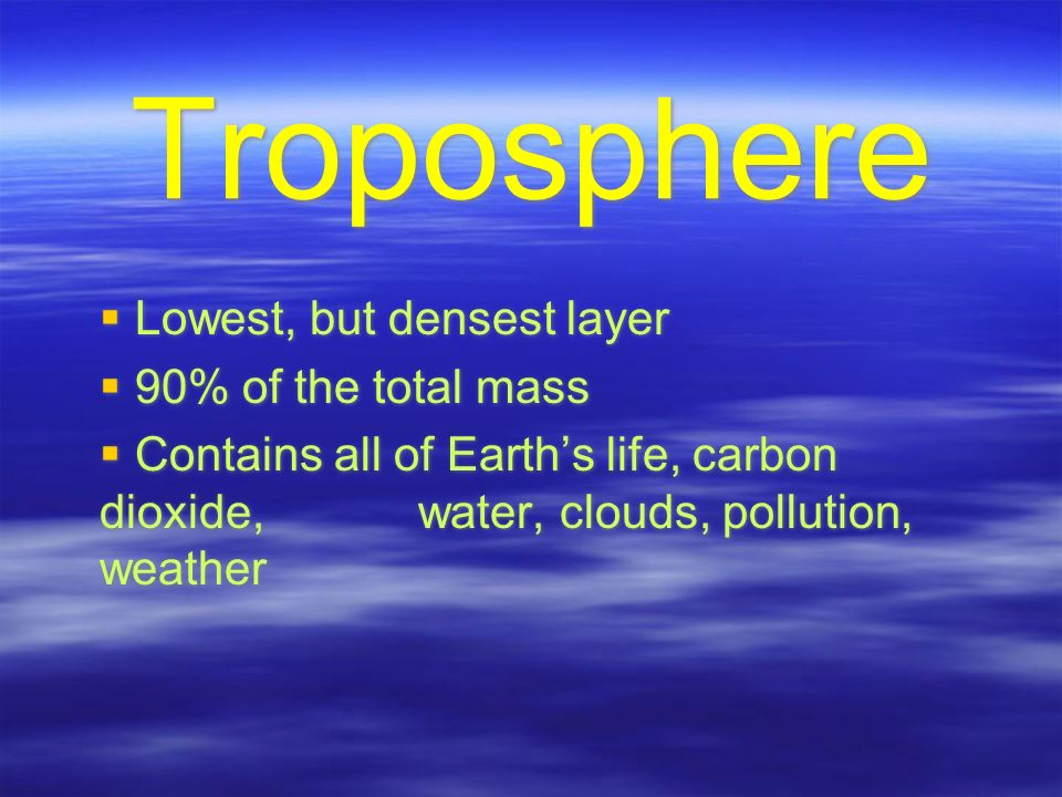 Troposphere  Lowest, but densest layer  90% of the total mass  Contains all of Earth's life, carbon dioxide, water, clouds, pollution, weather  Lowest, but densest layer  90% of the total mass  Contains all of Earth's life, carbon dioxide, water, clouds, pollution, weather