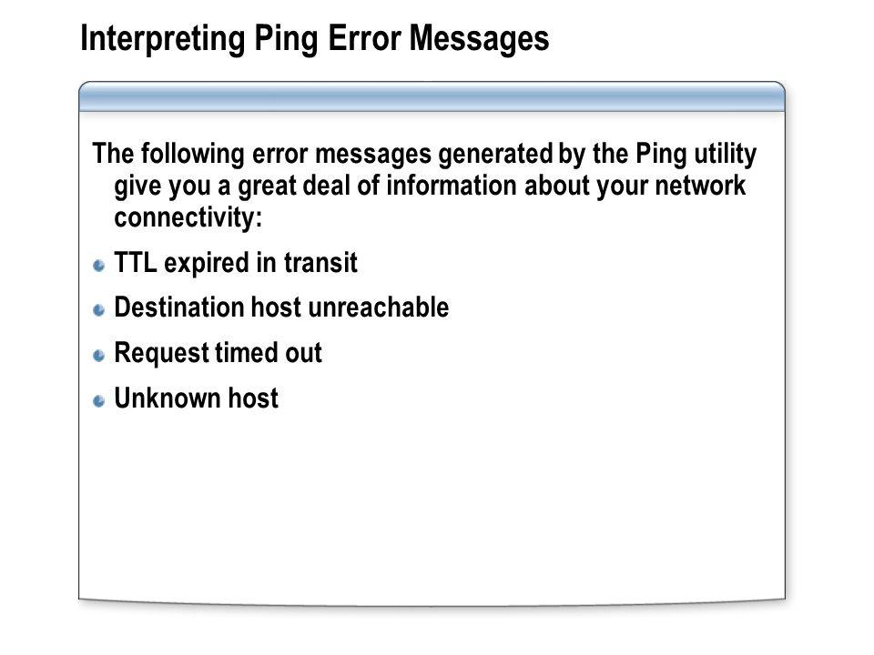 ping expired in transit