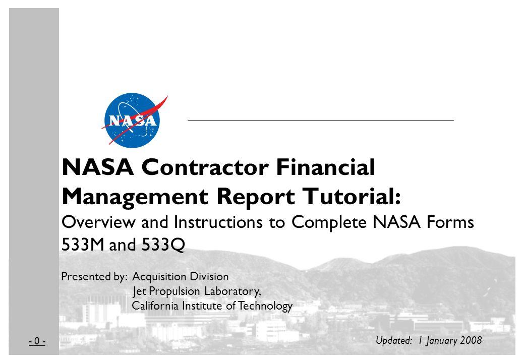 0 Nasa Contractor Financial Management Report Tutorial Overview