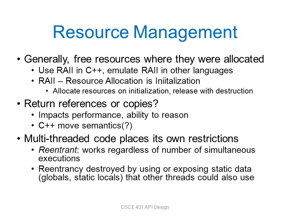 CSCE 431: Application Programming Interface (API) Design
