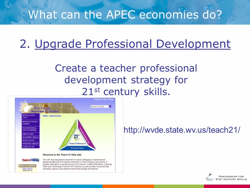 Create a teacher professional development strategy for 21 st century skills.