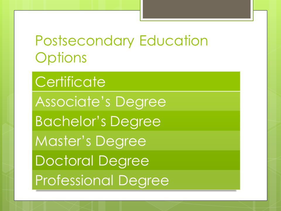 Postsecondary Education Options
