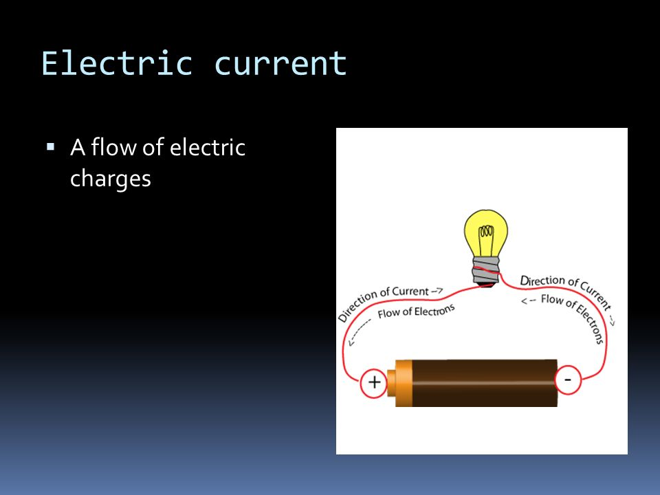 Electric current  A flow of electric charges
