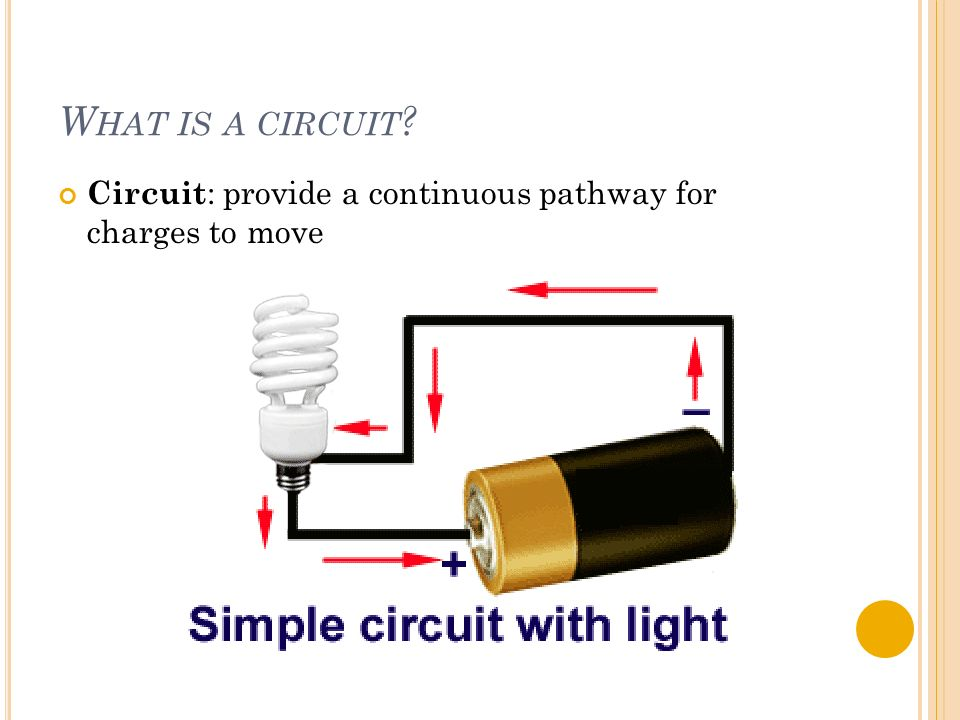 W HAT IS A CIRCUIT Circuit : provide a continuous pathway for charges to move