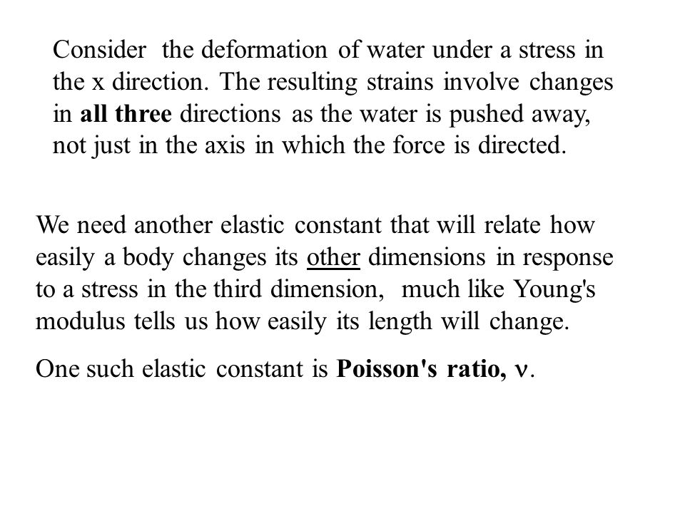 Consider the deformation of water under a stress in the x direction.