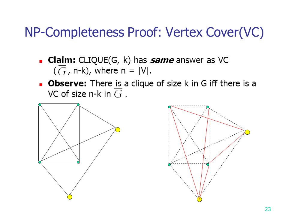 NP-Completeness Proof: Vertex Cover(VC) Claim: CLIQUE(G, k) has same answer as VC (, n-k), where n = |V|.
