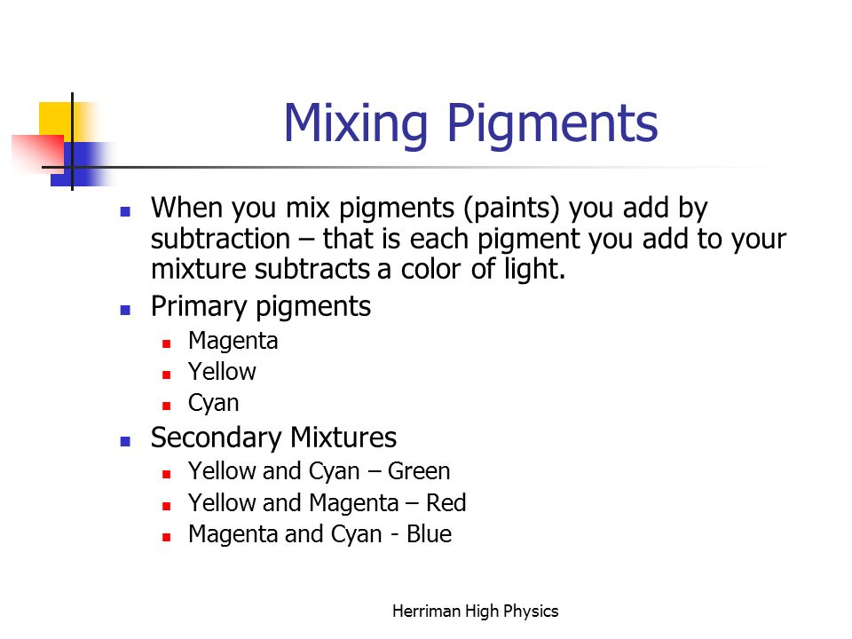 Mixing Pigments When you mix pigments (paints) you add by subtraction – that is each pigment you add to your mixture subtracts a color of light.