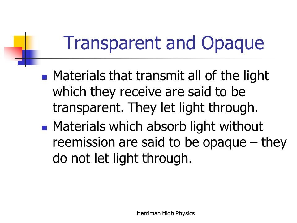 Transparent and Opaque Materials that transmit all of the light which they receive are said to be transparent.